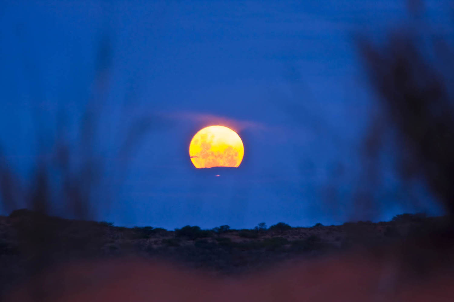 Moon rise @ !xaus lodge over the dunes