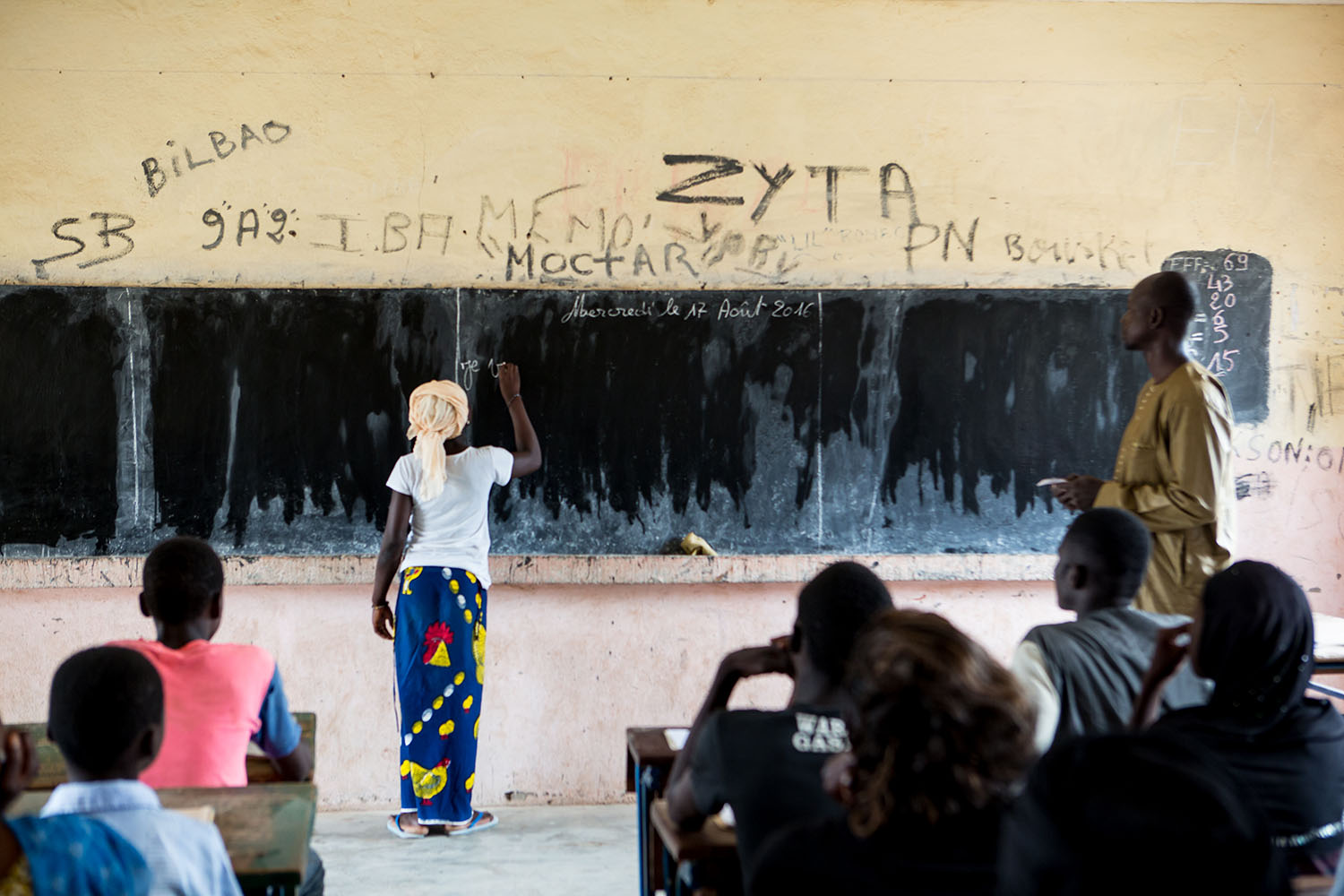 Abibatou Togola, 15 years old (released) answers a question in class at Koumantou Secondary School. She is about to complete Grade 8. This is relatively unusual in a region where the number of girls attending school is significantly lower than that of boy