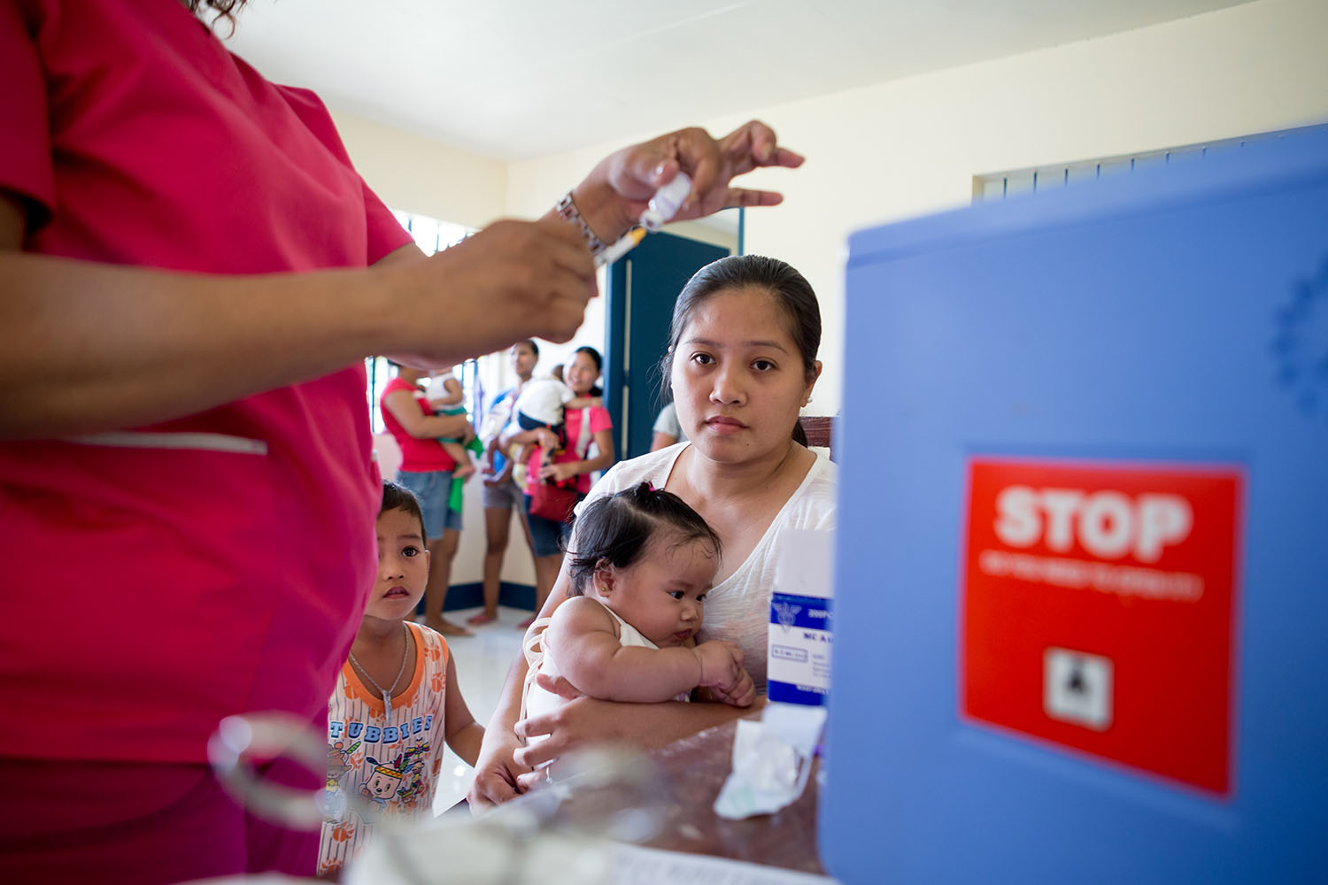 Athena May Ariano at the Barangay Health Station, Arangit UNICEF trip to Tacloban, in the Philipines to report on their response to Typhoon Yolanda, March 2016