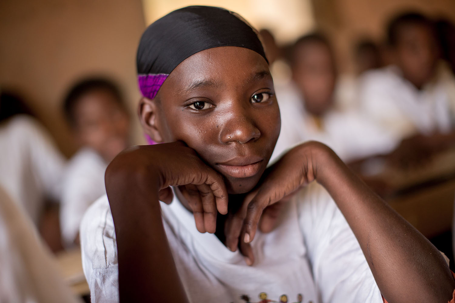 Adeoula, 12 years old (RELEASED) at the Accelerated Learning Centre of Bourougoundye, Gao where ongoing conflicts in the northern regions of Mali continue to have devastating effects education. UNICEF supports the re-opening of schools and alternative edu