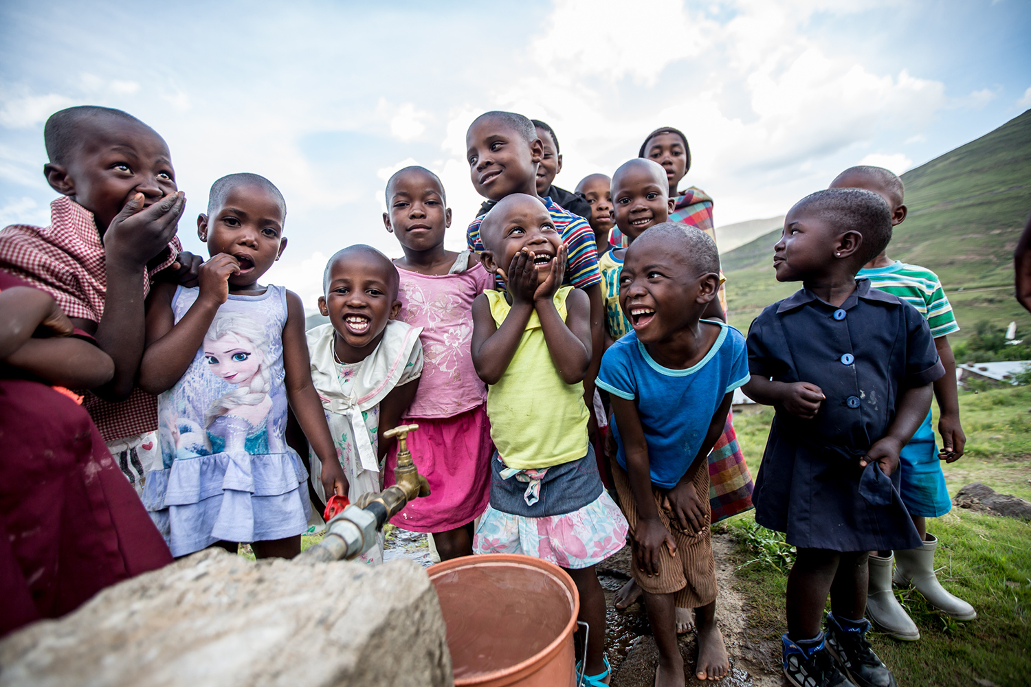 "General life in the Ha Khapiso Village in Lesotho, where Community - Led Total Sanitation (CLTS) has been embraced and implemented by the village. New latrines, and hand washing ""tippy taps"" accompany every family's home and children live in a clean, defe"
